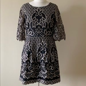 Eliza J Lace Overlay Fit and Flare Dress 6 PET